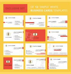 Set of 12 danger board creative busienss card vector