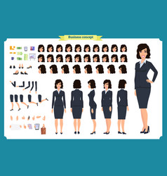 Set of businesswoman character designfront side vector