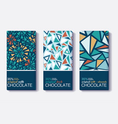 set of chocolate bar package designs with vector image