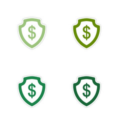 Set of paper stickers on white background dollar vector image