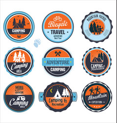 set outdoor adventure blue and orange labels vector image