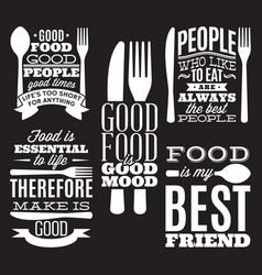 set vintage typographic food quotes for menu vector image