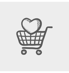 Shopping cart with heart sketch icon vector image