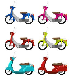 Six colourful scooters vector image vector image