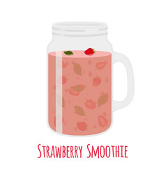 Strawberry smoothie in mason jar vector