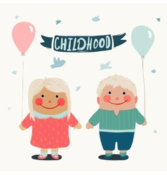 Summer Children Friends with Baloons vector