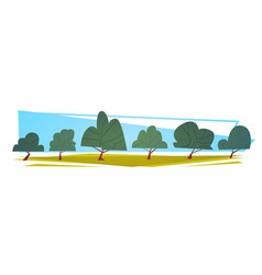 Summer landscape green trees cartoon horizontal vector