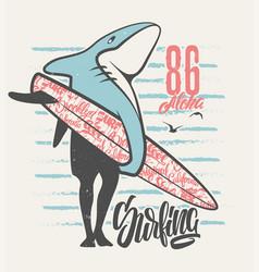 surfing shark - print for boy apparel in custom vector image
