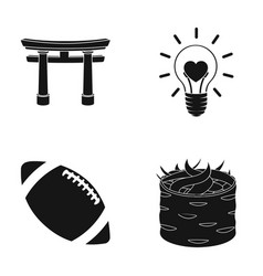 Torii light bulb and other web icon in black vector