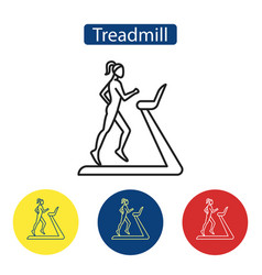 Treadmill fitness flat icons vector