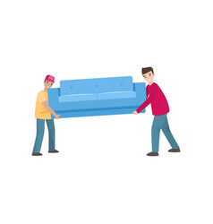 Two men are carrying a couch isolated on a white vector
