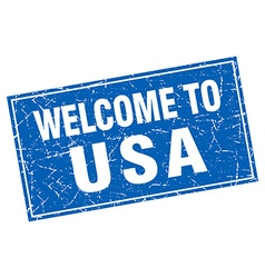 Usa blue square grunge welcome to stamp vector