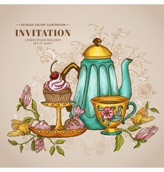 Vintage Menu or Invitation Card vector image