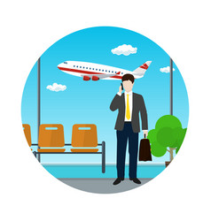 Waiting room with businessman icon vector