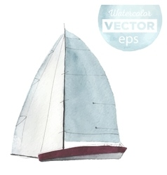 Watercolor sport yacht vector