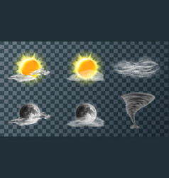 Weather meteo icons realistic set vector