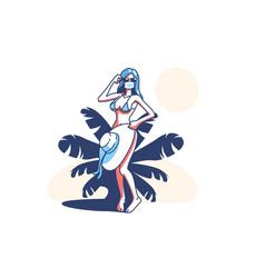 woman on beach vector image