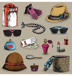 Womens accessories set vector