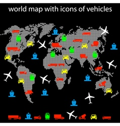 world map with icons of transport for traveling vector image