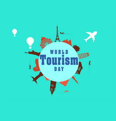 world tourism day greeting card vector image
