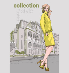 fashion collection style model girl wear elegant vector image