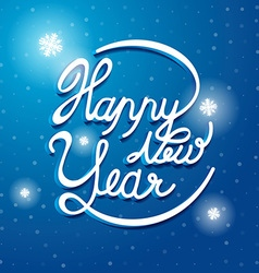 Happy New Year Font on blue and white snow vector image