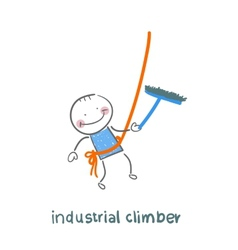 industrial climber washes windows vector image