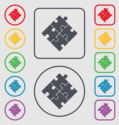 Puzzle piece icon sign Symbols on the Round and vector image