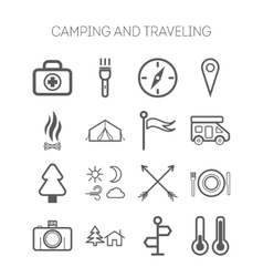 Set of simple icons for camping and traveling vector image vector image
