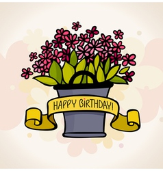 birthday card with flower vector image