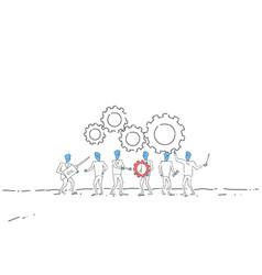 business people group under cog wheel work vector image vector image