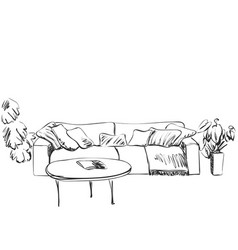 room interior sketch sofa and flowerpot vector image