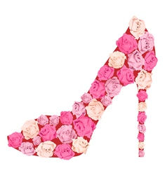 Shoe from roses vector image vector image
