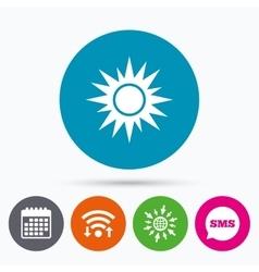 Sun sign icon Solarium symbol Heat button vector image
