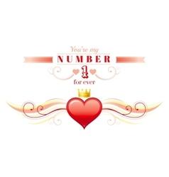 Happy Valentines day border princess crown heart vector image vector image