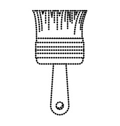 paint brush icon monochrome dotted silhouette vector image vector image