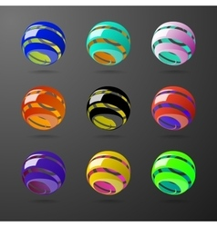 Set of color spiral ball shapes vector image vector image