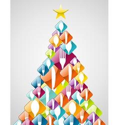 Silverware Christmas pine tree vector image vector image