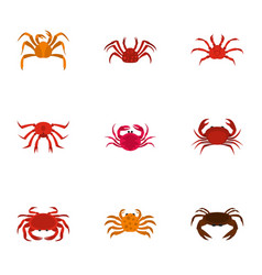 underwater crab icons set cartoon style vector image