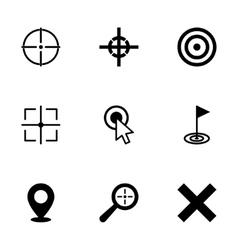 black target icon set vector image vector image