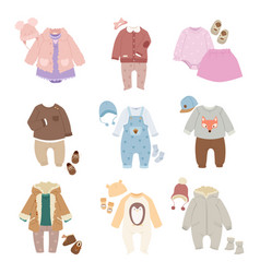 funny baby kids clothes icon set vector image vector image