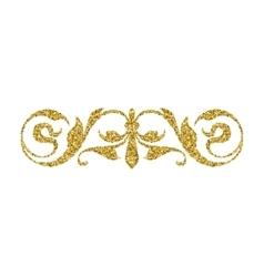 Gold glitter swirl vintage ornament vector image vector image
