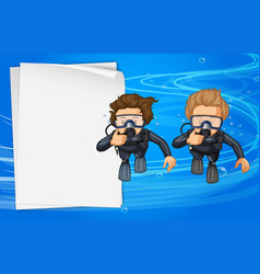 paper template with two scuba divers vector image vector image