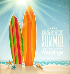 Surfboards on a beach against a sunny seascape vector image vector image