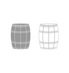 wine or beer barrels grey set icon vector image