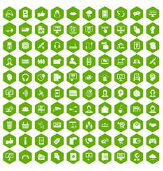 100 contact us icons hexagon green vector