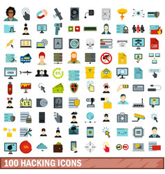 100 hacking icons set flat style vector