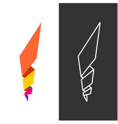 Abstract geometric fire flame logo vector