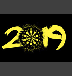 abstract number 2019 and a dartboard from blots vector image