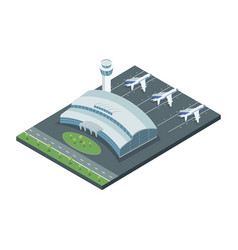 Aerodrome with planes on vector